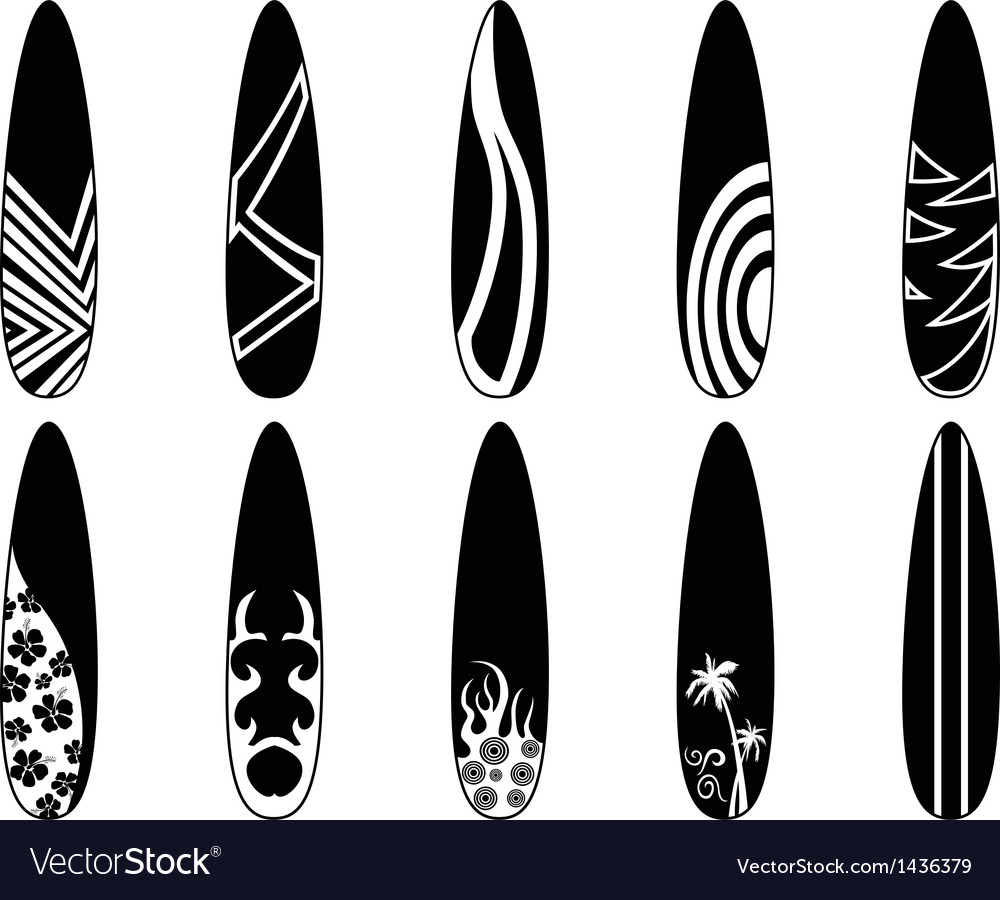 Surfboard icons vector | Price: 1 Credit (USD $1)