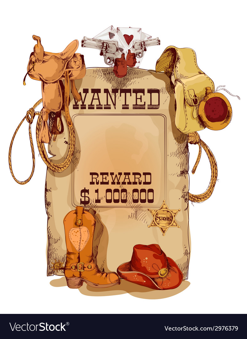 Wanted western vintage poster vector | Price: 1 Credit (USD $1)