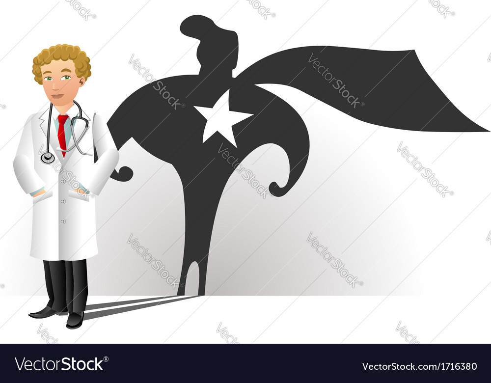 A smiling doctor with superhero silhouette vector