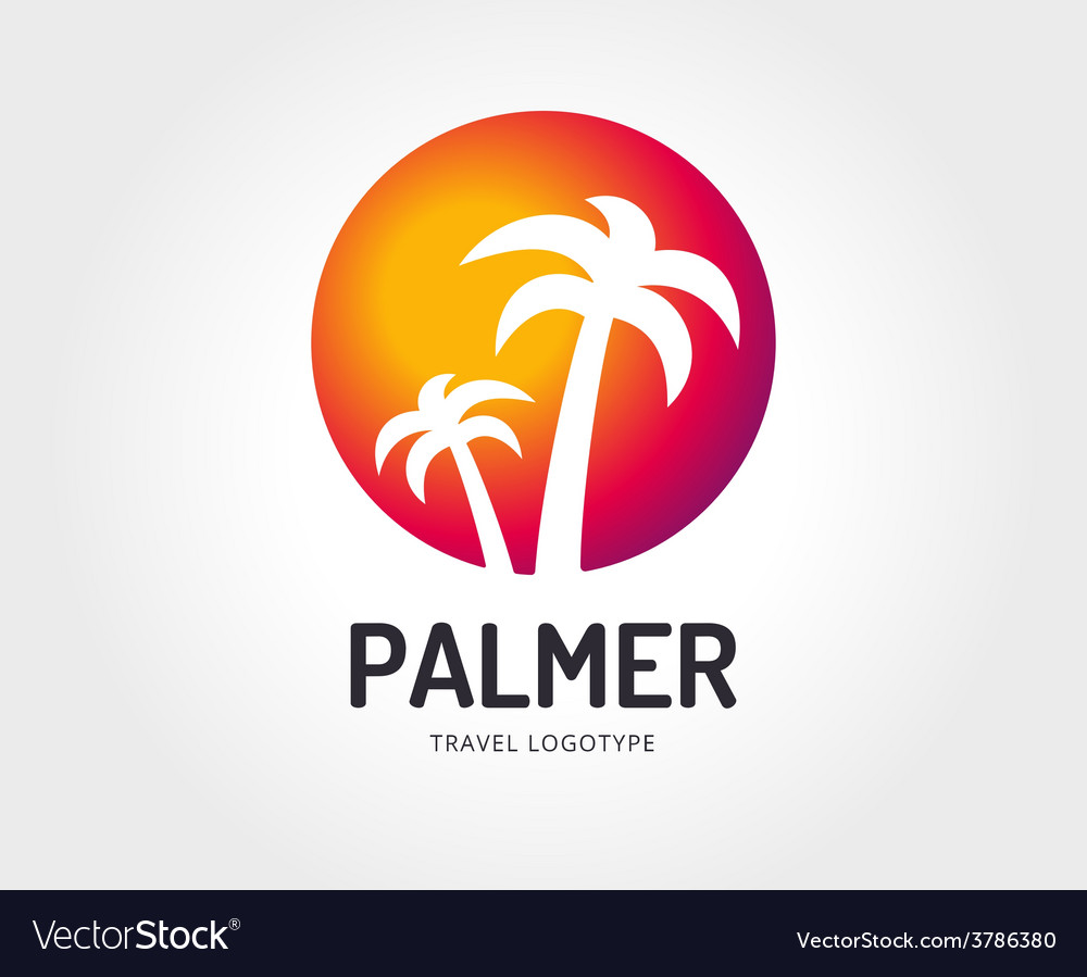 Abstract travel palm logo template for vector | Price: 1 Credit (USD $1)