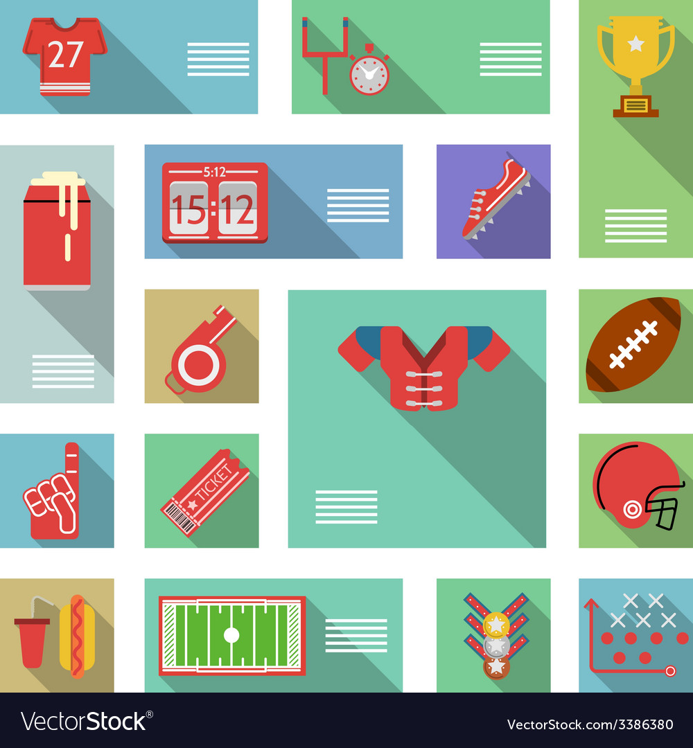 American football flat icons vector   Price: 1 Credit (USD $1)