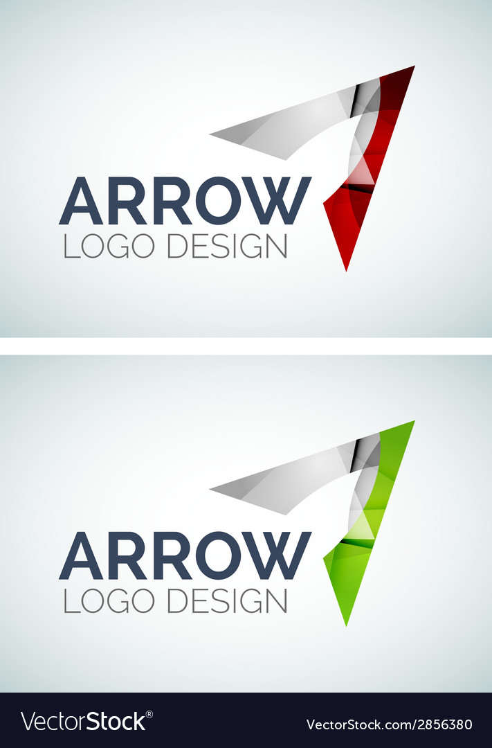 Arrow logo design made of color pieces vector | Price: 1 Credit (USD $1)