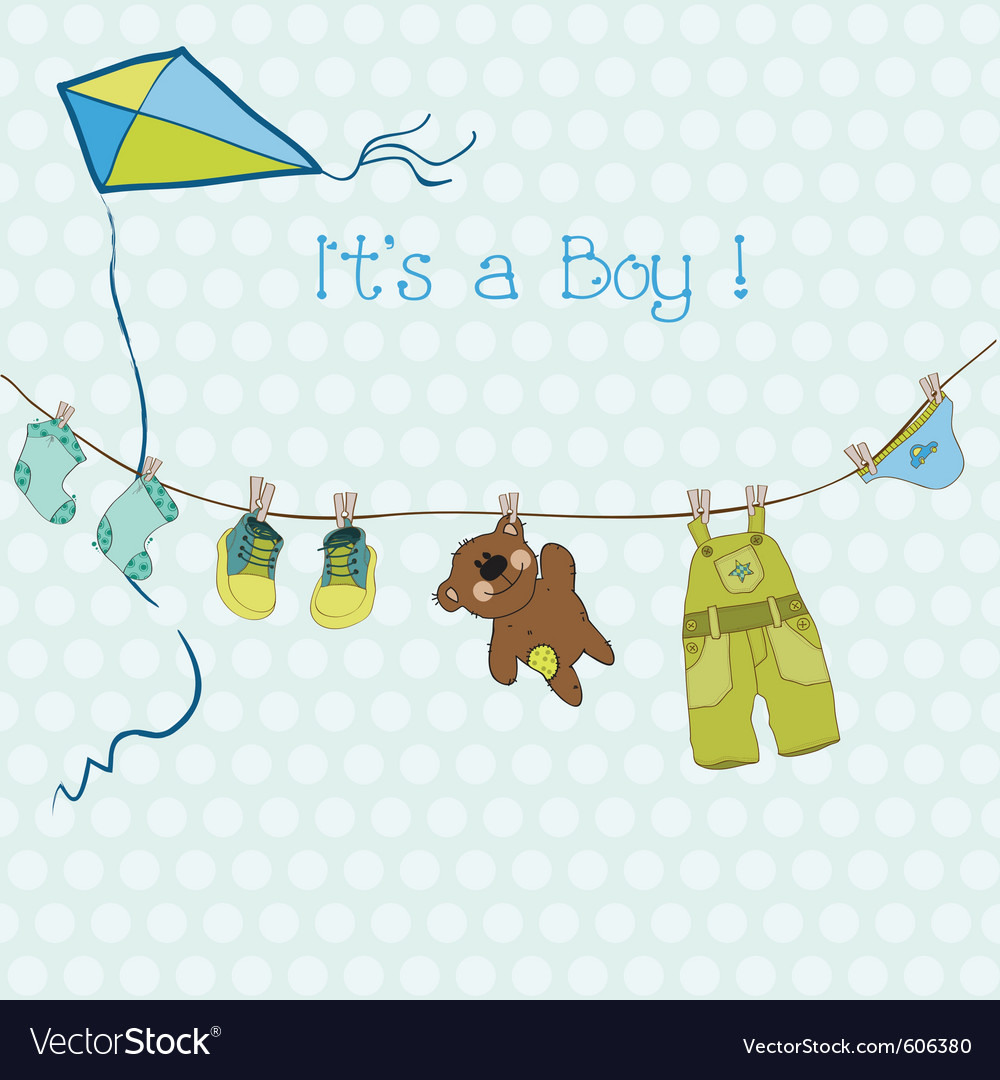 Baby boy shower or arrival card with place for you vector | Price: 1 Credit (USD $1)