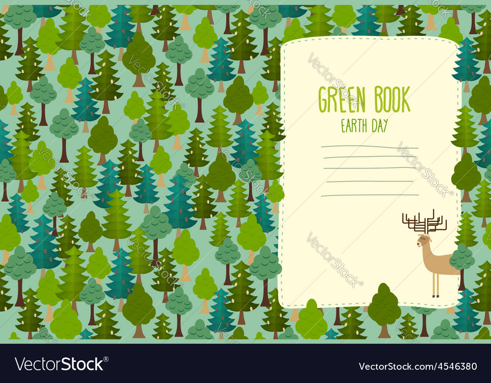 Earth day cover art for book template green book vector   Price: 1 Credit (USD $1)