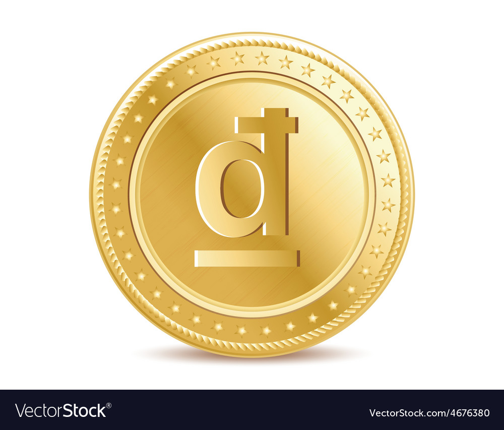 Golden isolated dong coin on the white background vector | Price: 1 Credit (USD $1)