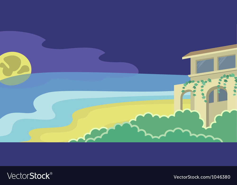 House on the beach moonlight vector | Price: 1 Credit (USD $1)