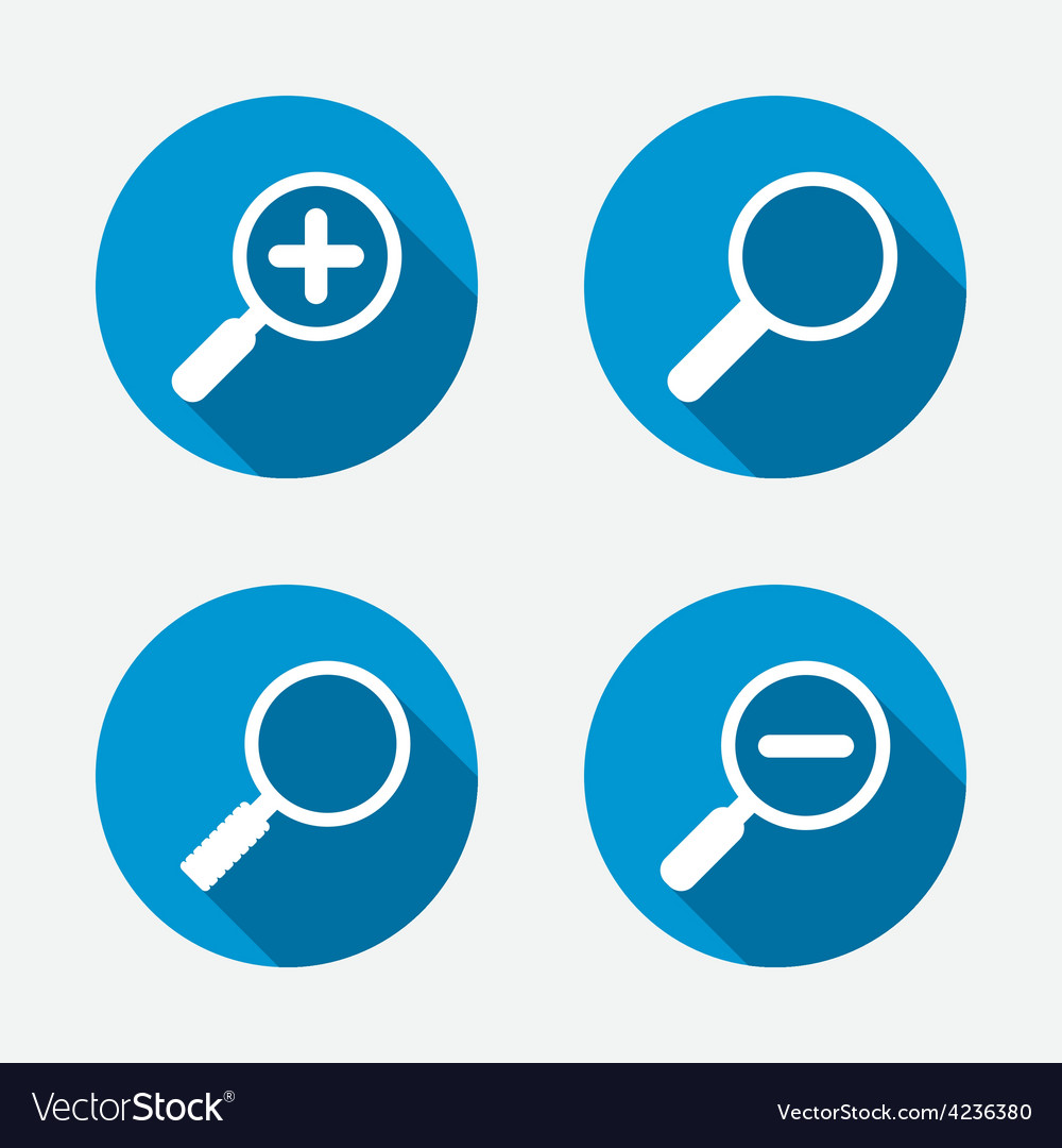 Magnifier glass icons plus and minus zoom tool vector | Price: 1 Credit (USD $1)
