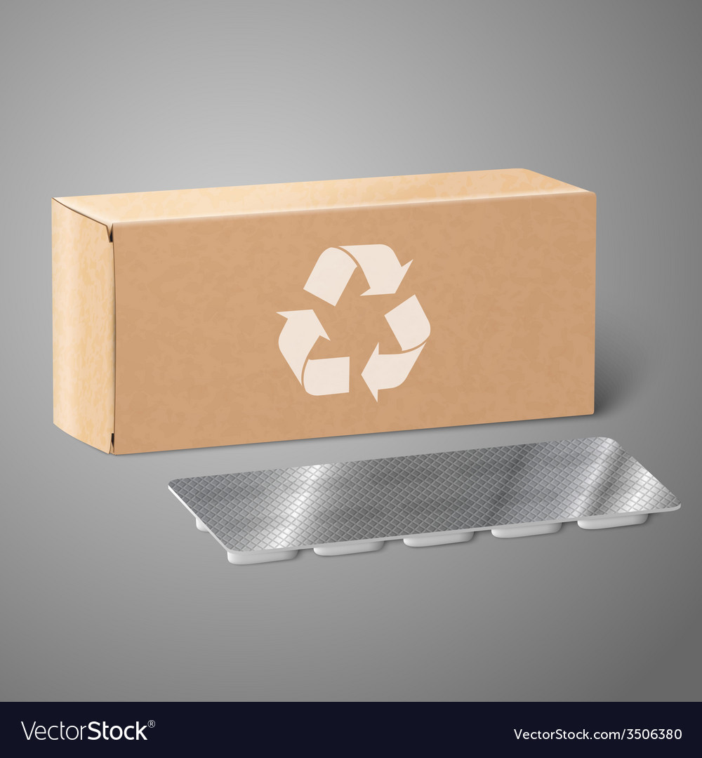 Realistic blank craft paper medicine package box vector | Price: 1 Credit (USD $1)