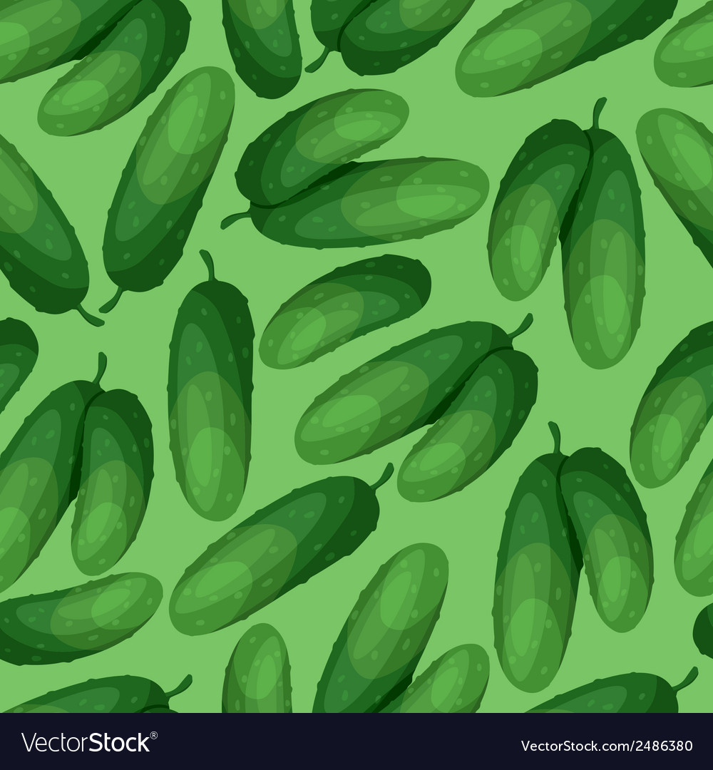 Seamless pattern with fresh ripe cucumbers vector | Price: 1 Credit (USD $1)