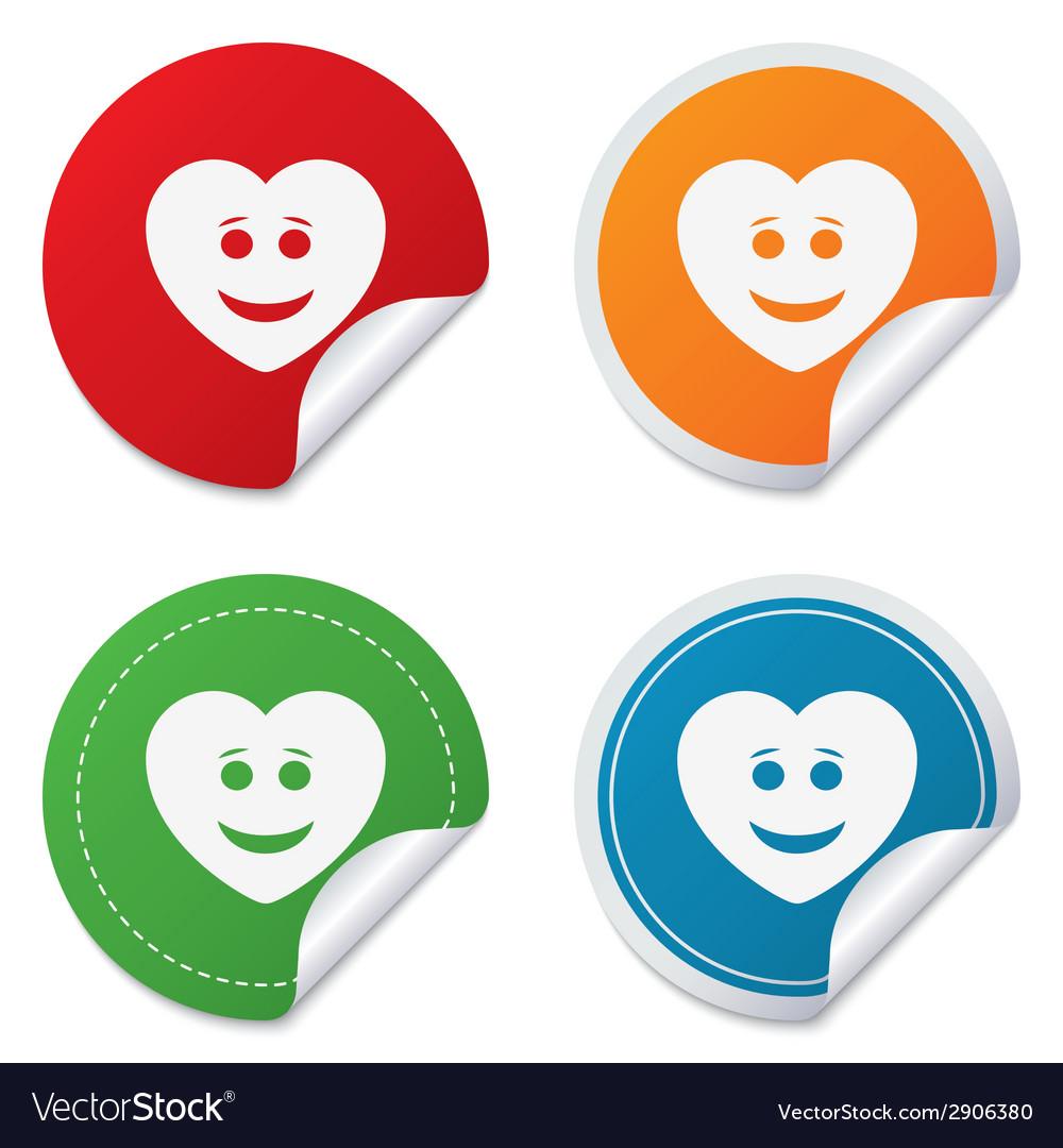 Smile heart face icon smiley symbol vector | Price: 1 Credit (USD $1)