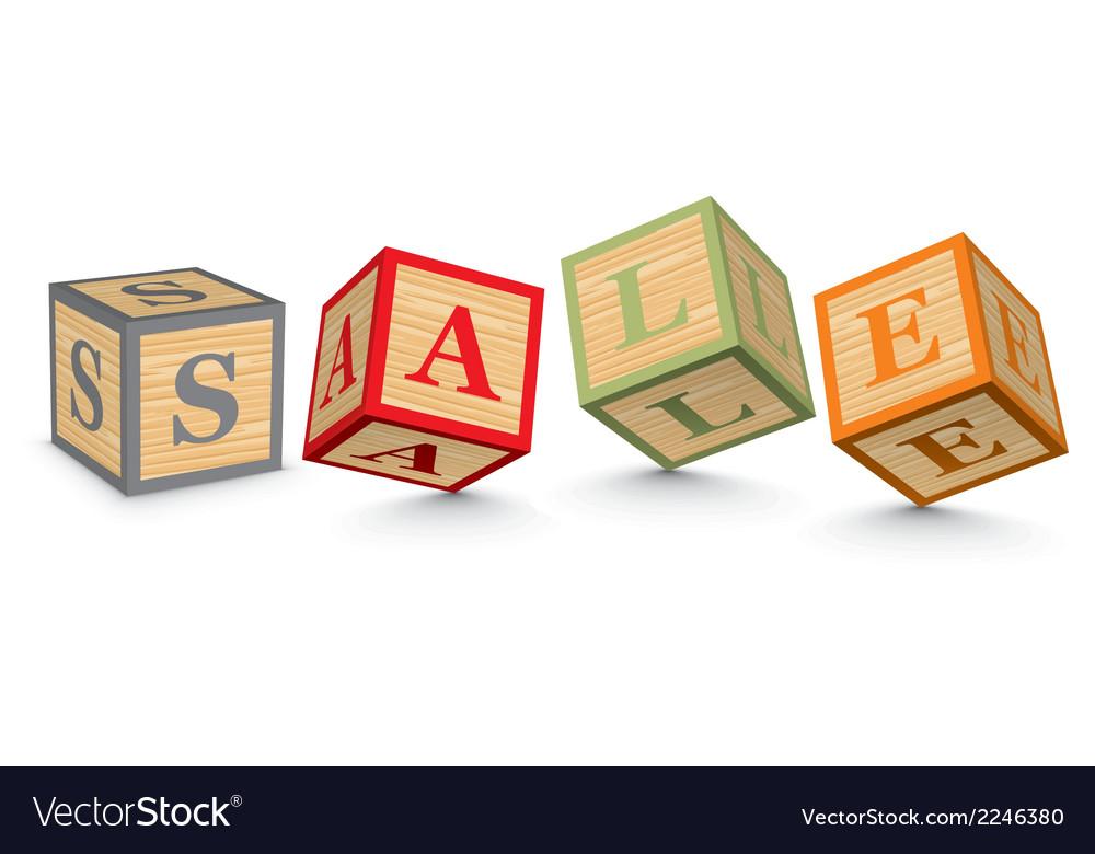 Word sale written with alphabet blocks vector | Price: 1 Credit (USD $1)