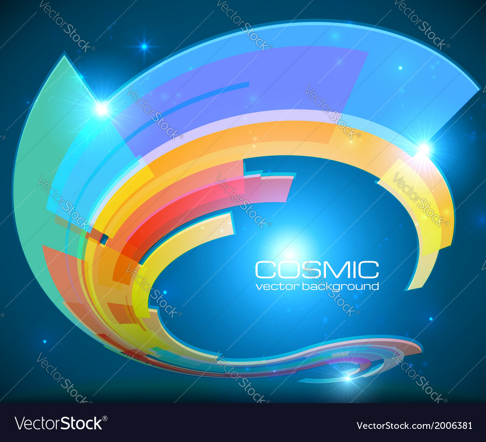 Abstract cosmic shining colorful circle frame vector | Price: 1 Credit (USD $1)