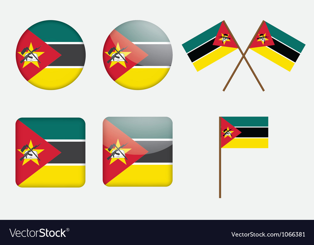 Badges with flag of mozambique vector | Price: 1 Credit (USD $1)