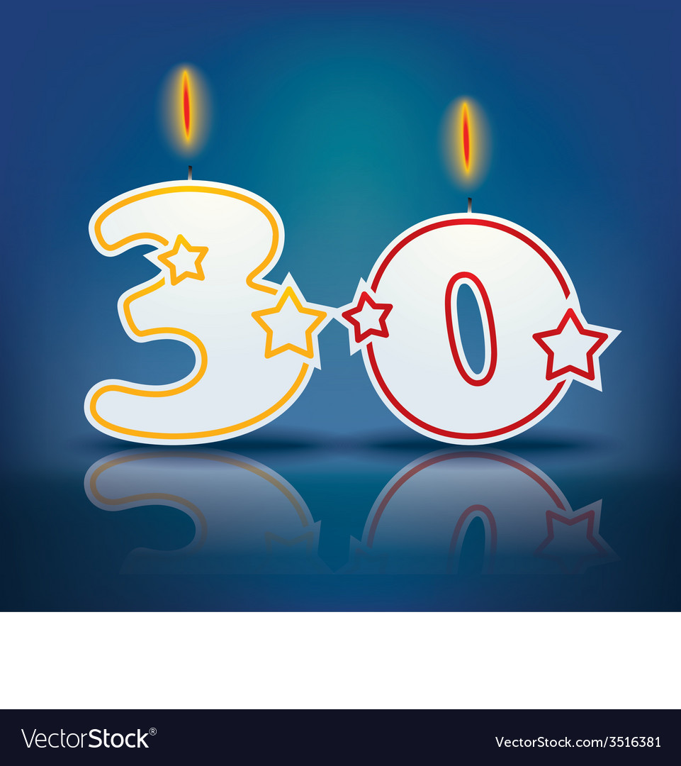 Birthday candle number 30 vector | Price: 1 Credit (USD $1)