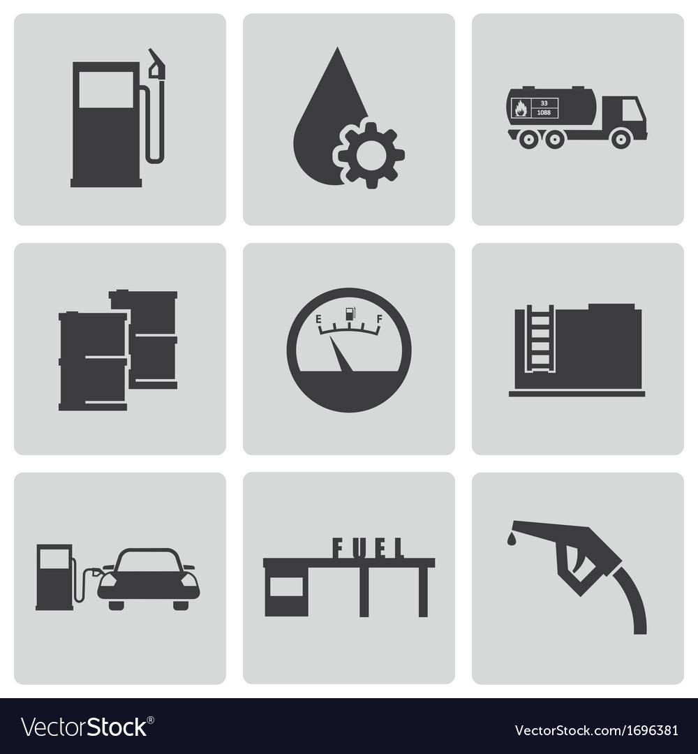 Black gas station icons set vector | Price: 1 Credit (USD $1)