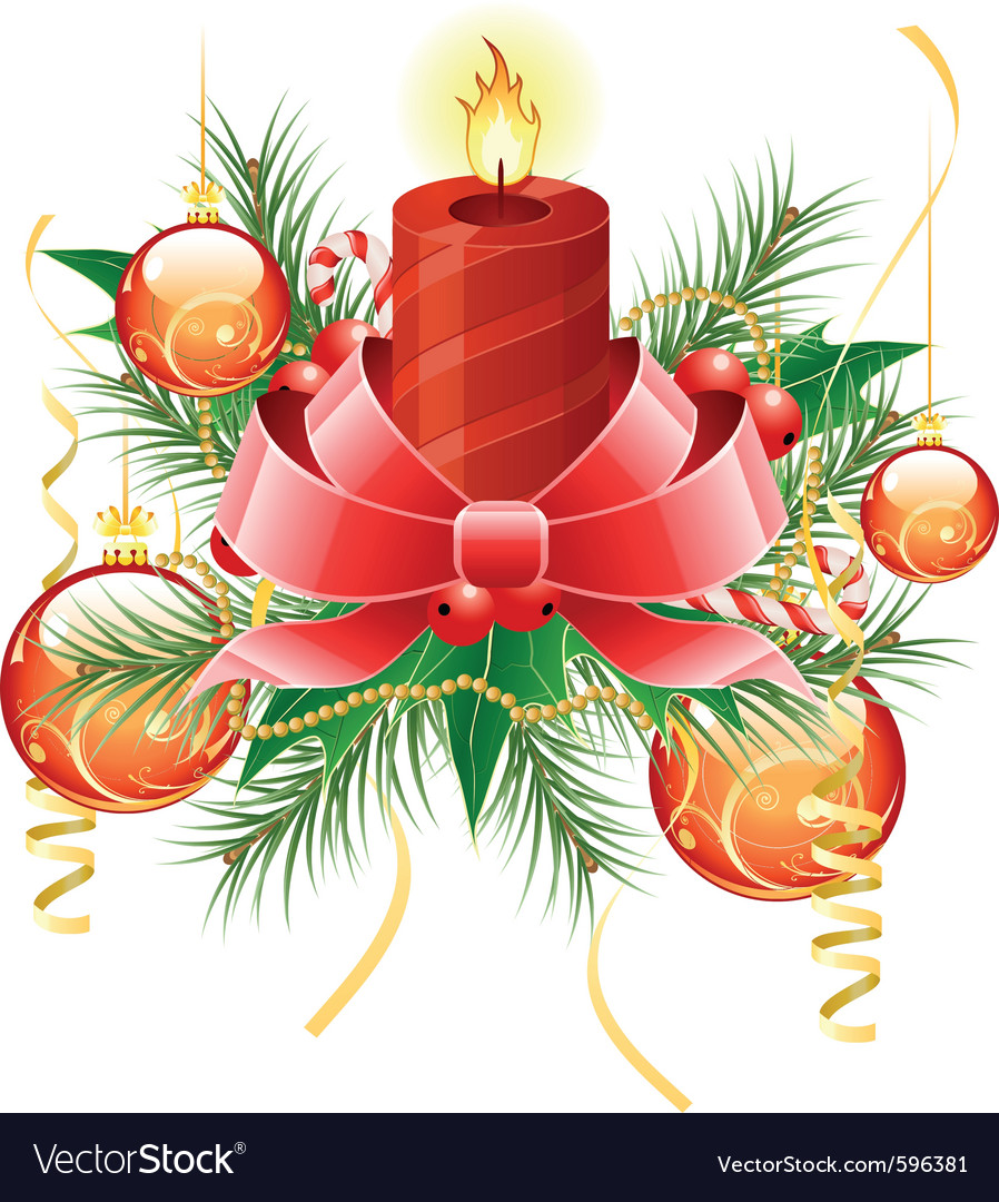 Christmas background with candle and decoration fo vector | Price: 3 Credit (USD $3)