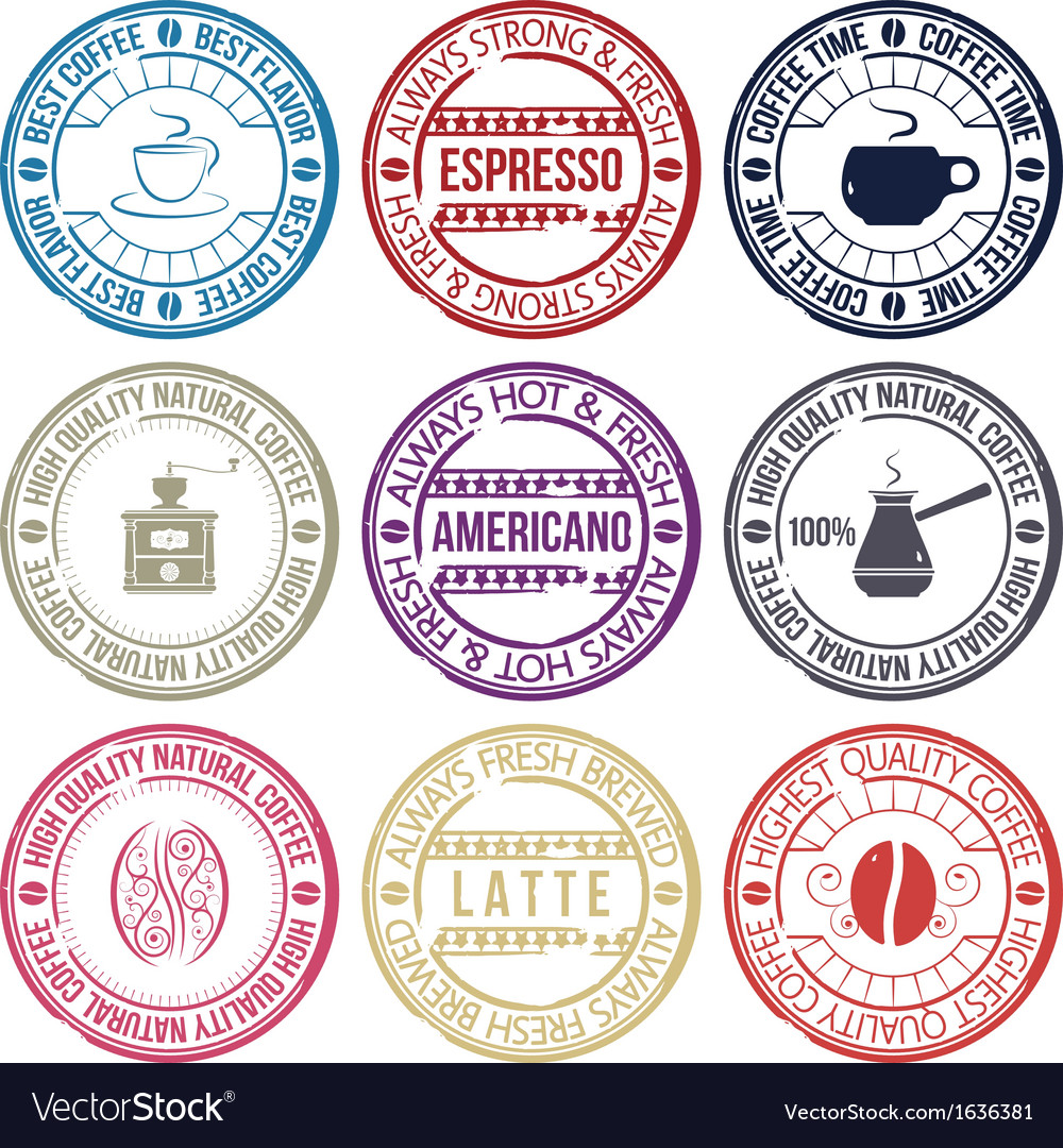 Coffee stamp set vector | Price: 1 Credit (USD $1)