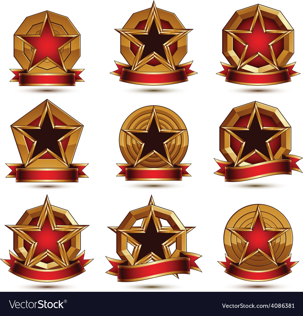 Collection of geometric round glamorous golden vector | Price: 1 Credit (USD $1)