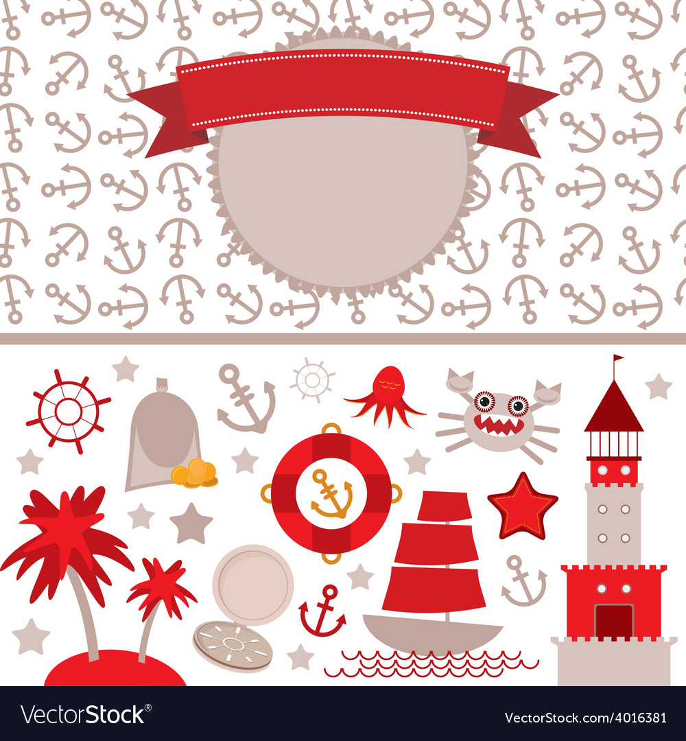 Cute sea objects collection vintage scrap nautical vector | Price: 1 Credit (USD $1)