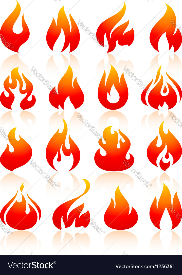 Fire flames redish set icons vector | Price: 1 Credit (USD $1)