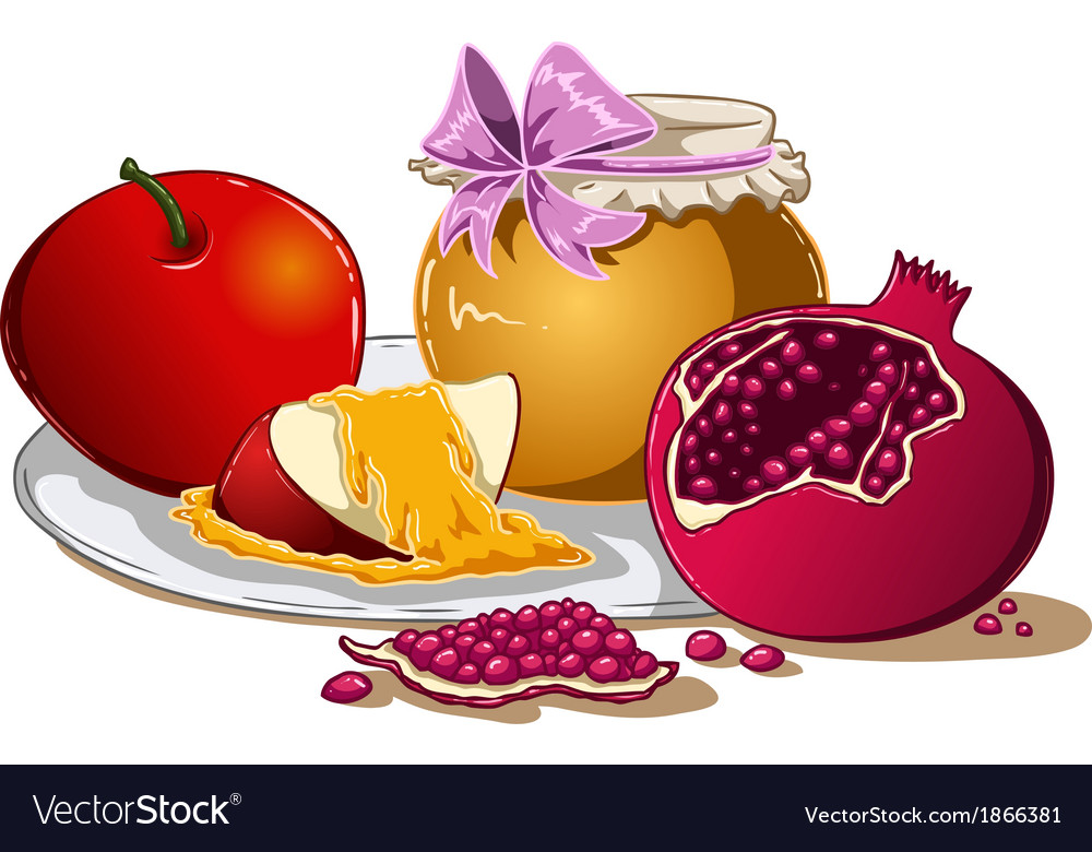 Honey apple and pomegranate for rosh hashanah vector | Price: 1 Credit (USD $1)