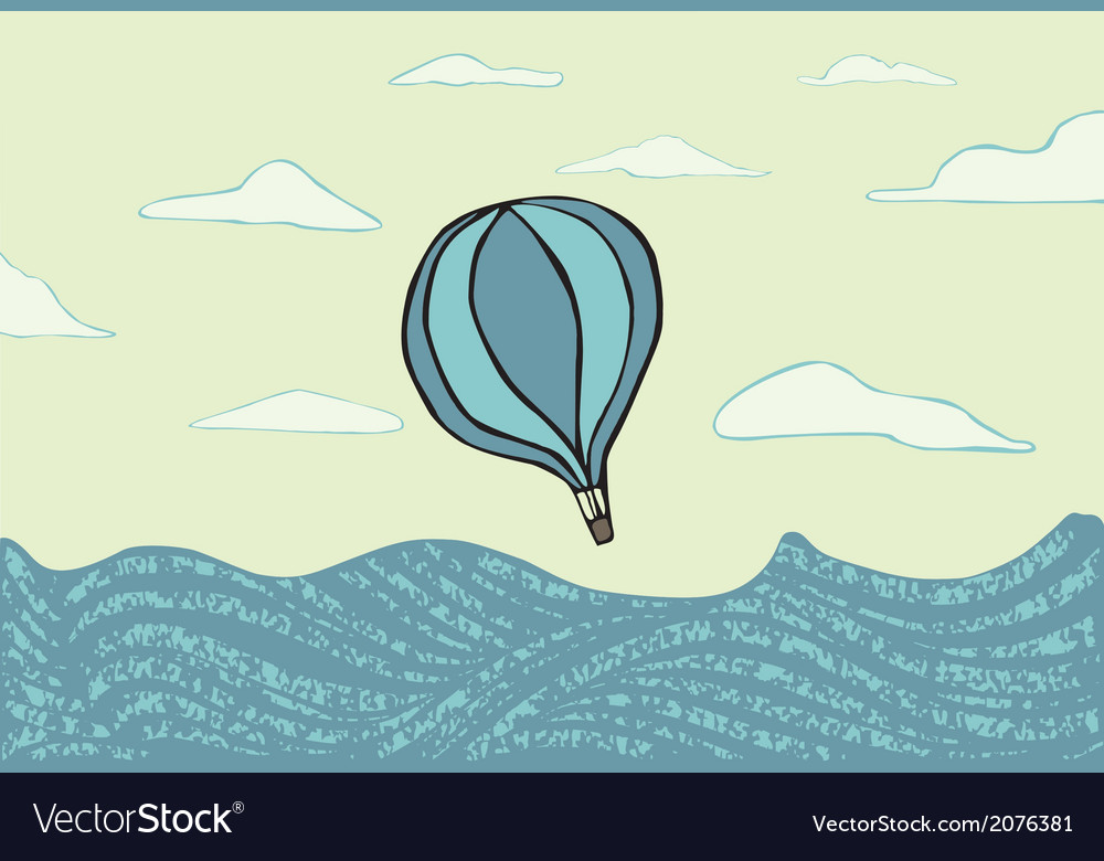 Hot air balloon over the sea vector | Price: 1 Credit (USD $1)