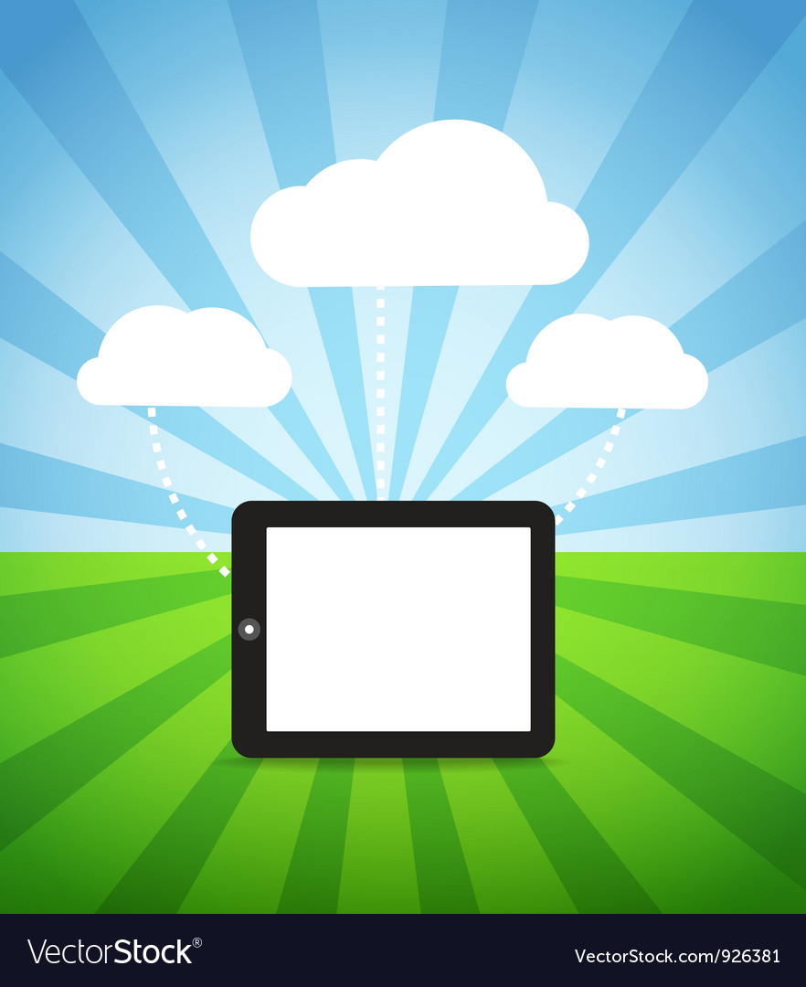 Modern gadget with media clouds vector | Price: 1 Credit (USD $1)