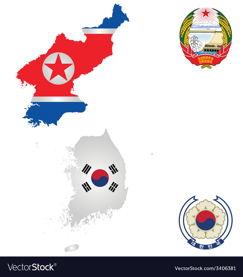 North and south korea vector | Price: 1 Credit (USD $1)