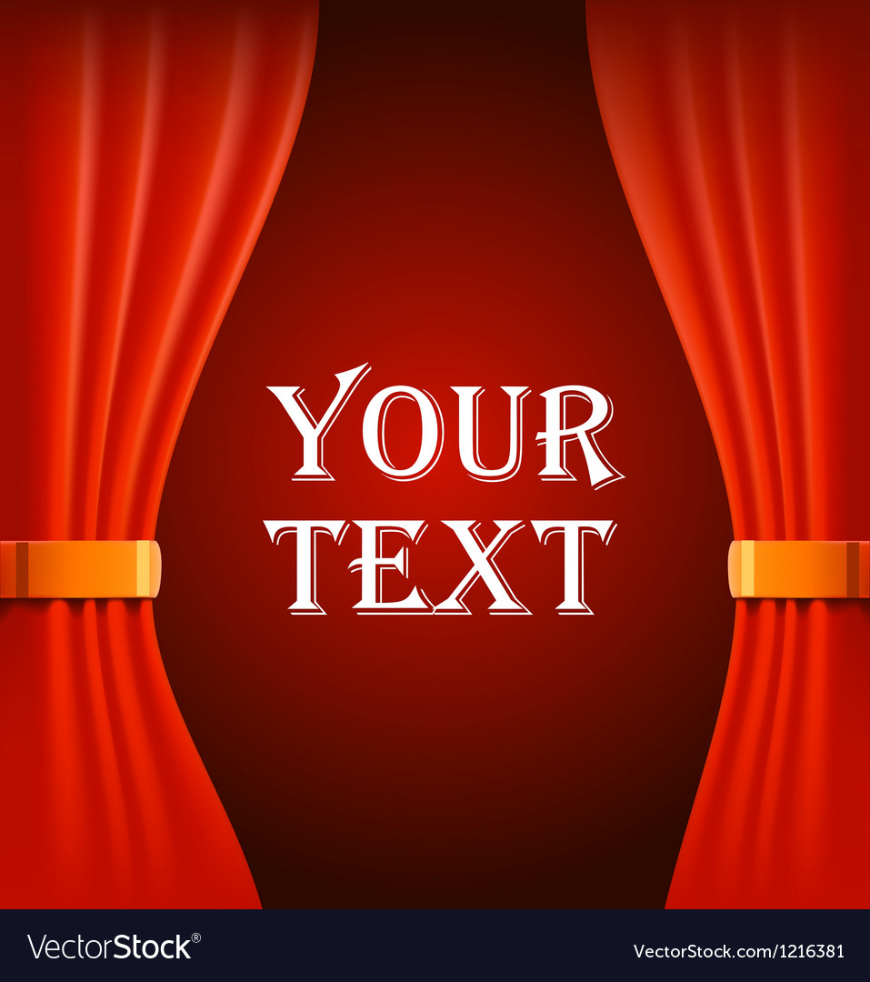 Red curtains with sample text vector | Price: 1 Credit (USD $1)