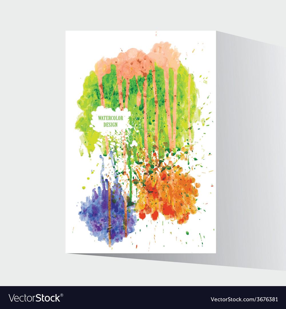 Watercolor splash blot with drops and splatter vector | Price: 1 Credit (USD $1)