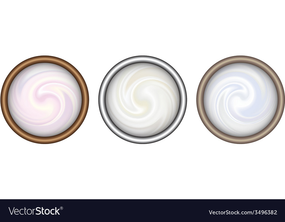 Bowl of cream on white background top view vector | Price: 1 Credit (USD $1)