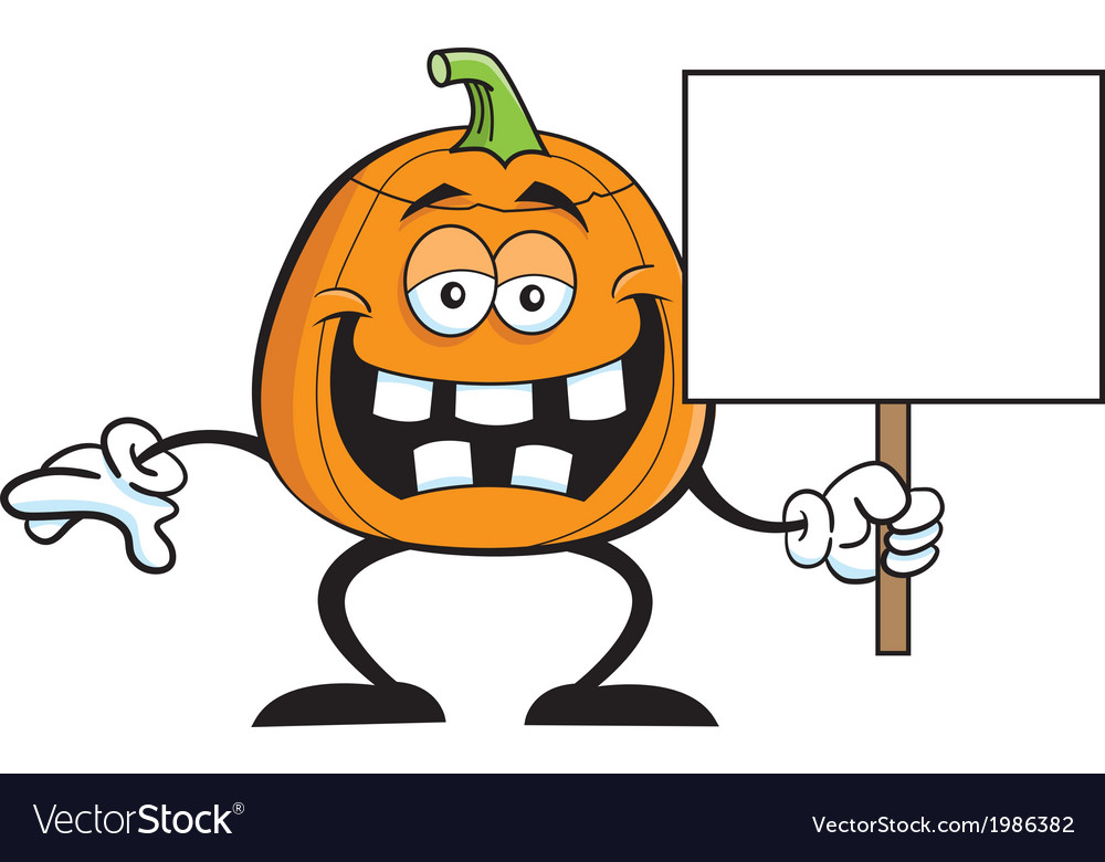 Cartoon pumpkin holding a sign vector | Price: 1 Credit (USD $1)