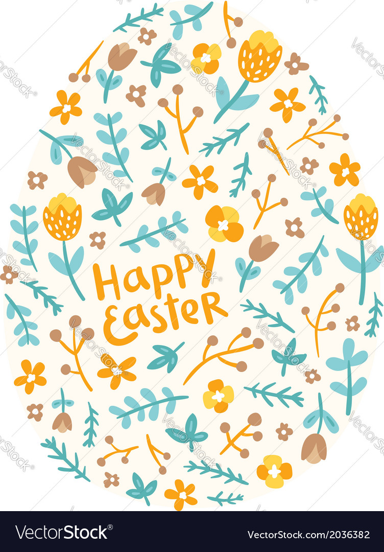 Easter floral egg vector | Price: 1 Credit (USD $1)