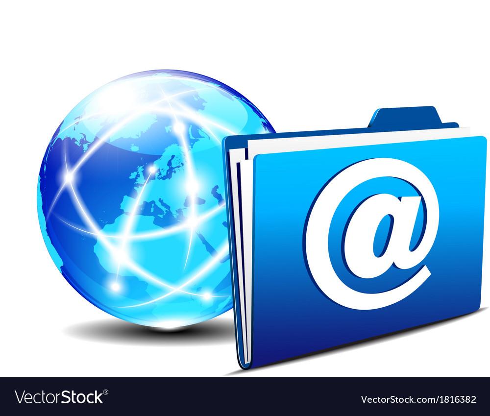 Folder globe europe email vector   Price: 1 Credit (USD $1)