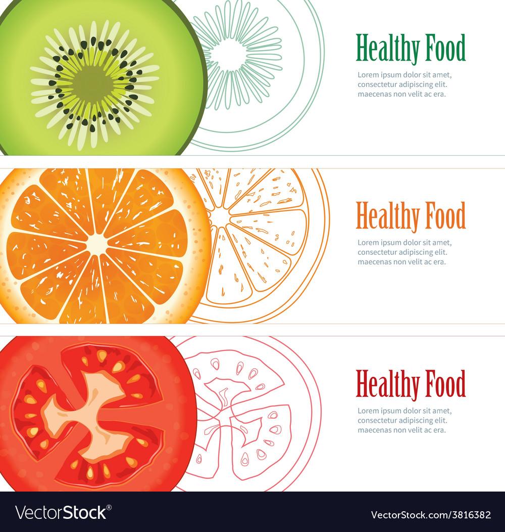 Healthy food banner vector | Price: 1 Credit (USD $1)