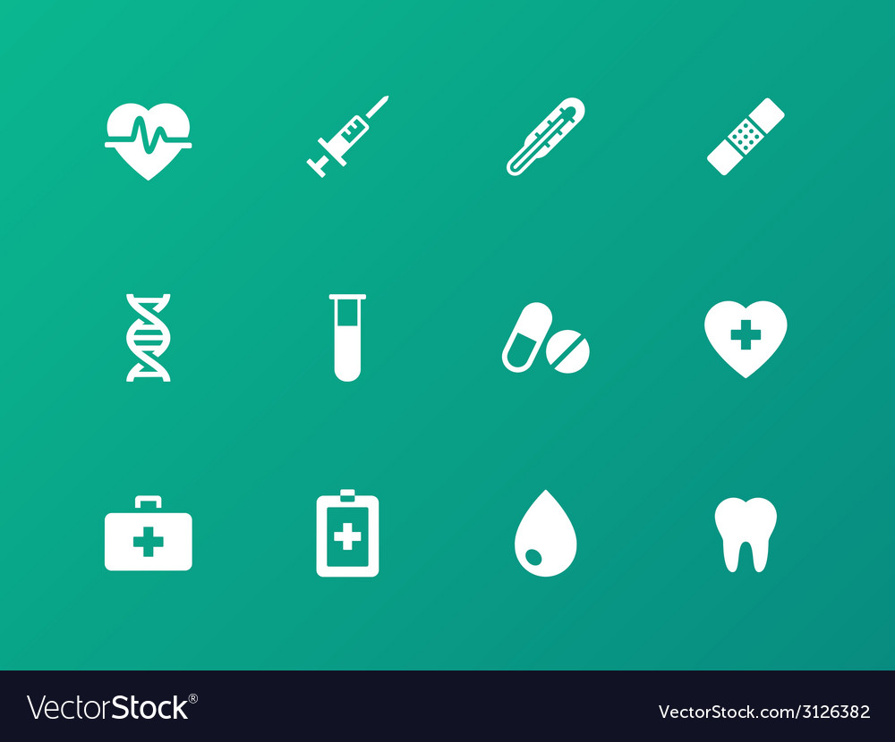 Medical icons on green background vector | Price: 1 Credit (USD $1)
