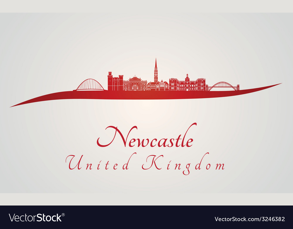Newcastle skyline in red vector | Price: 1 Credit (USD $1)