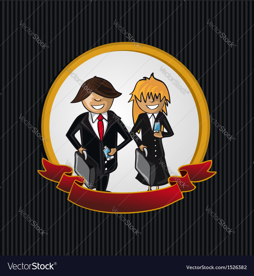 Service callcenter couple cartoon label icon vector | Price: 1 Credit (USD $1)