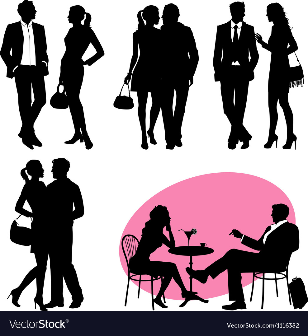 Several people - silhouettes vector | Price: 1 Credit (USD $1)