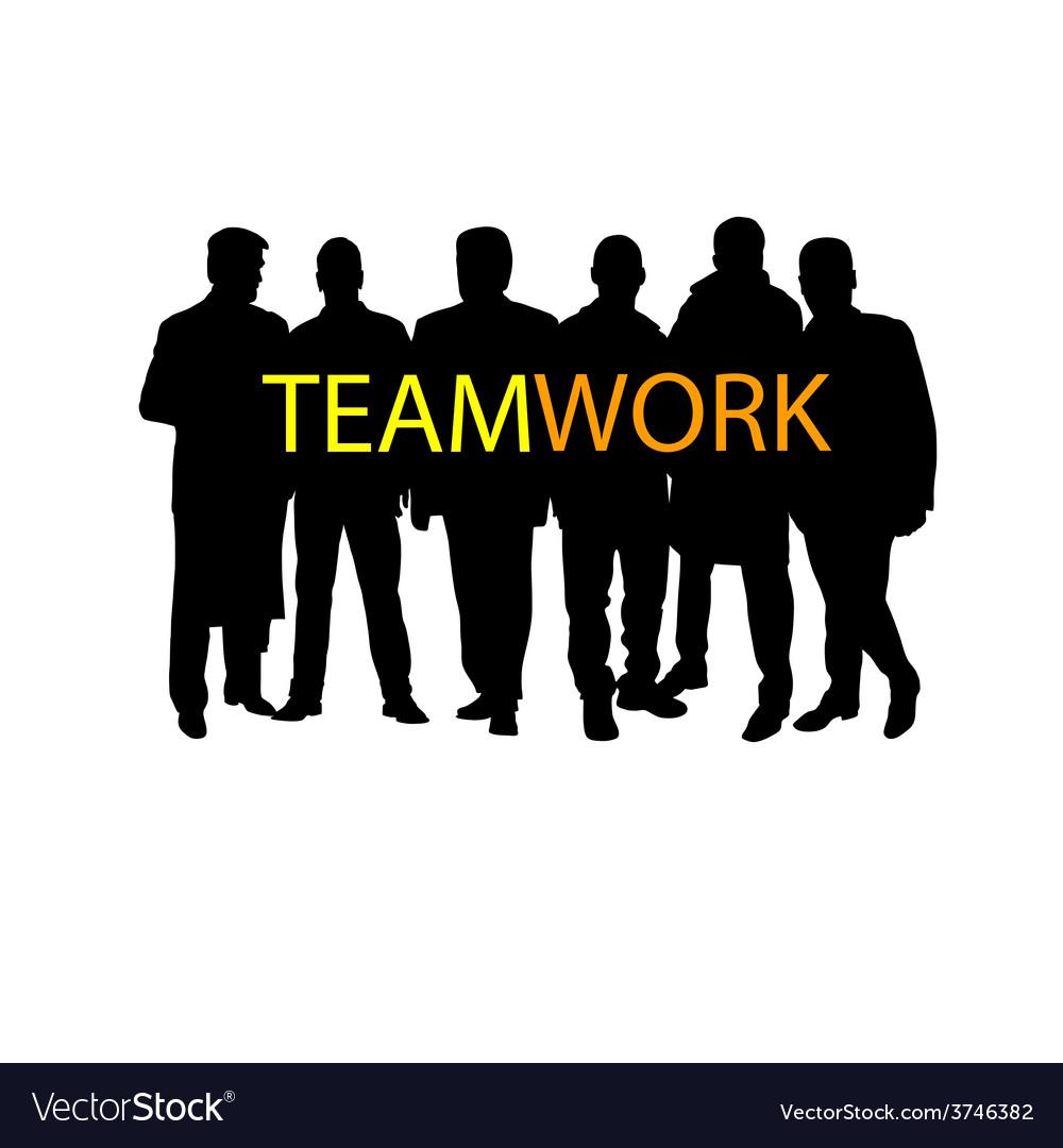 Teamwork silhouette vector   Price: 1 Credit (USD $1)