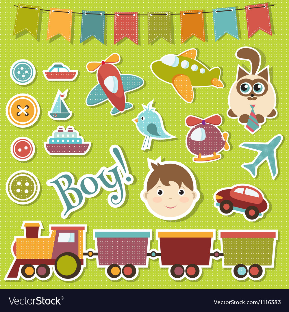 Baby boy set vector | Price: 3 Credit (USD $3)