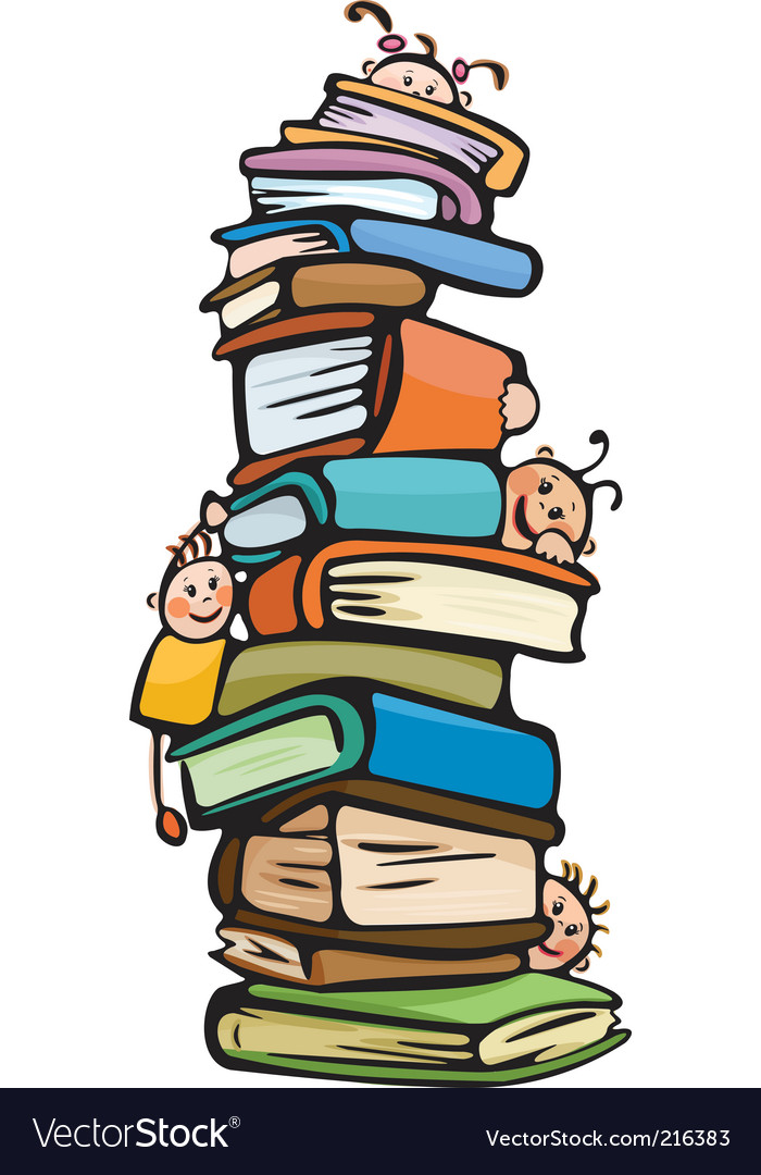 Cartoon kids on books vector