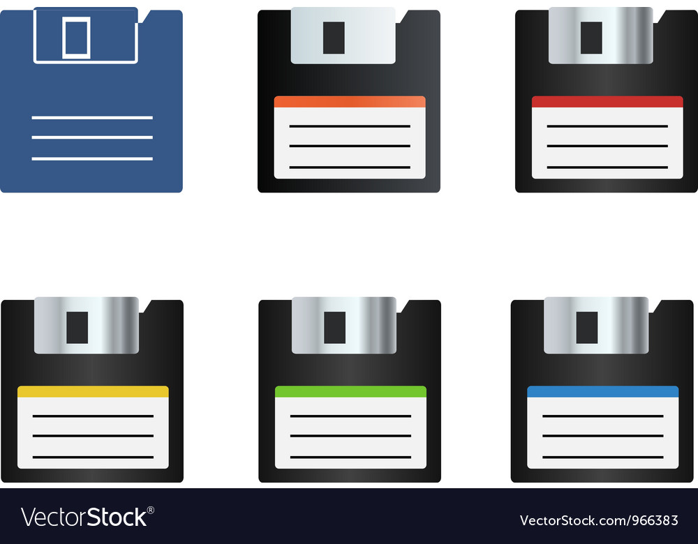 Diskette icons set vector | Price: 1 Credit (USD $1)