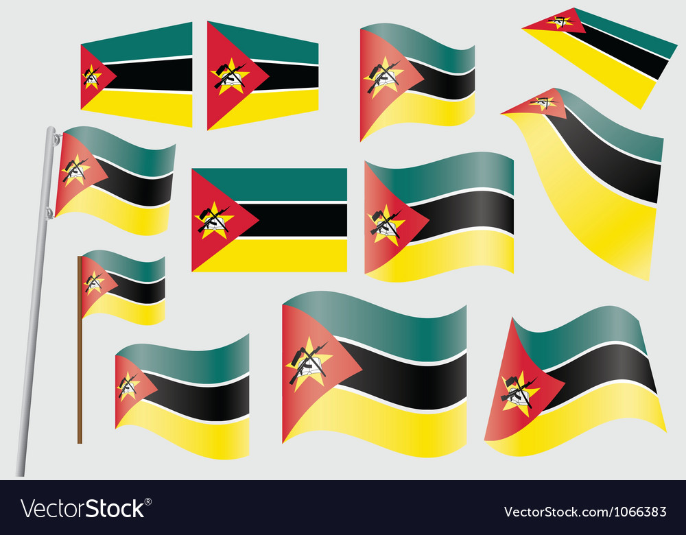 Flags of mozambique vector | Price: 1 Credit (USD $1)