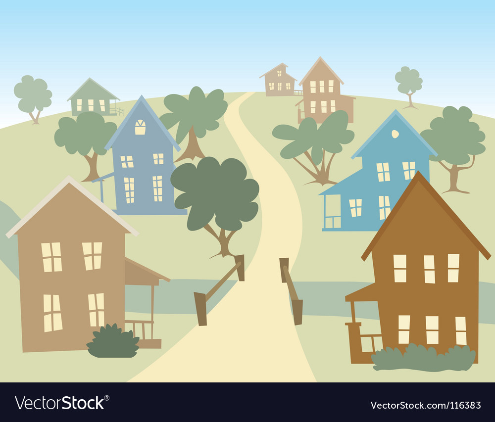 Happy village vector | Price: 1 Credit (USD $1)