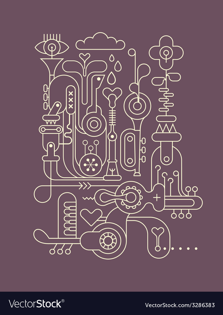 Music factory outline vector | Price: 1 Credit (USD $1)