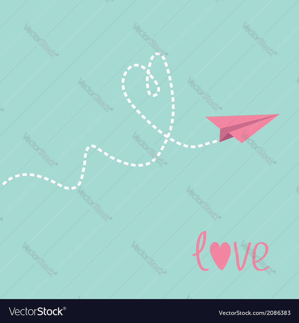 Origami paper plane dash heart in the sky love car vector | Price: 1 Credit (USD $1)