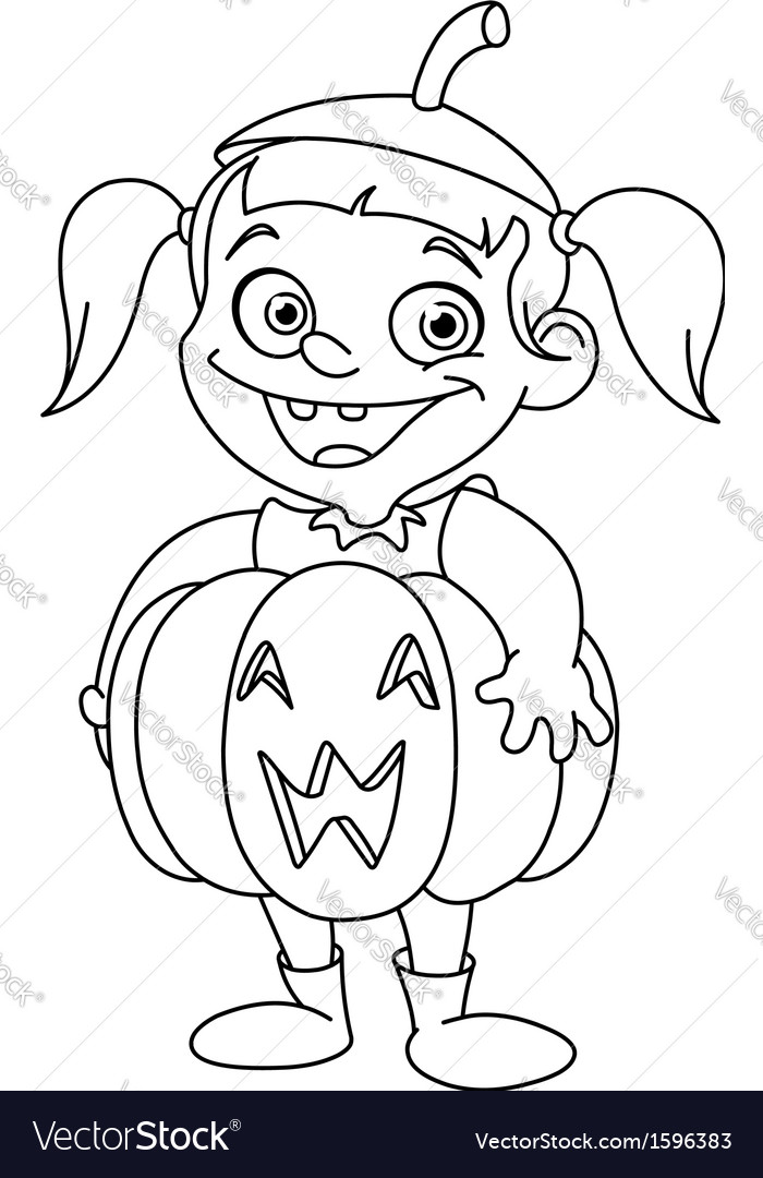 Outlined pumpkin kid vector | Price: 1 Credit (USD $1)