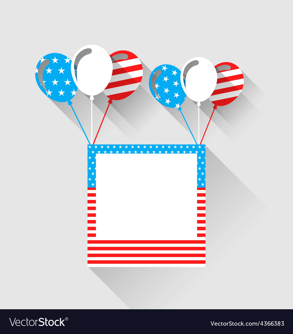 Photo frame and balloons in us national colors vector | Price: 1 Credit (USD $1)