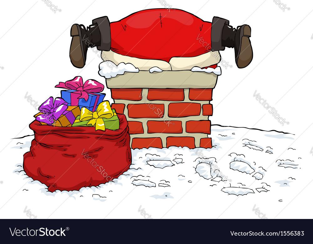 Santa stuck in the chimney vector | Price: 1 Credit (USD $1)
